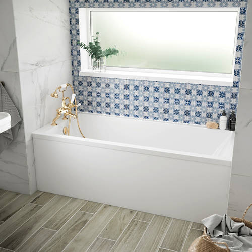 Additional image for Durham Single Ended Bath With Panel 1600x750mm (White).