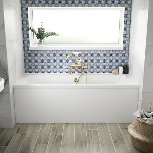 Additional image for Durham Double Ended Bath With Panel 1800x800mm (White).