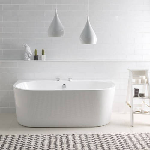 Additional image for Ancora Back To Wall Bath 1640mm (Gloss White).