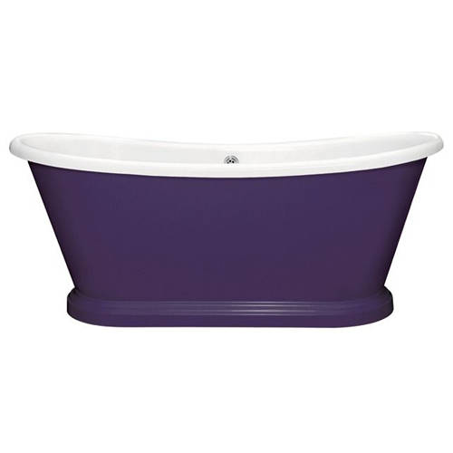 Additional image for Painted Acrylic Boat Bath 1580mm (White & Purple Heart).