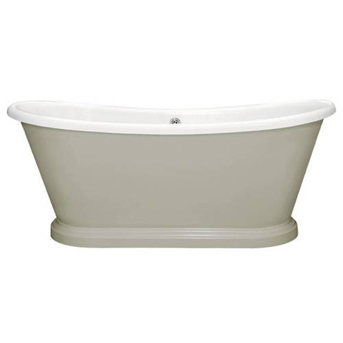 Additional image for Painted Acrylic Boat Bath 1580mm (White & Manor House Grey)
