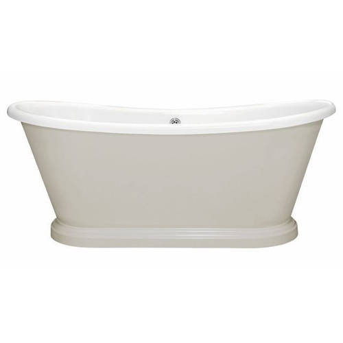 Additional image for Painted Acrylic Boat Bath 1580mm (White & Purbeck Stone).