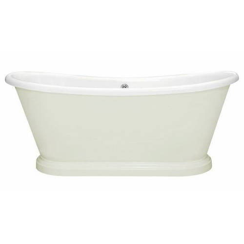 Additional image for Painted Acrylic Boat Bath 1580mm (White & Dimpse).