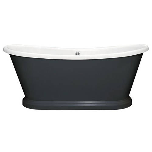 Additional image for Painted Acrylic Boat Bath 1580mm (White & Off Black).