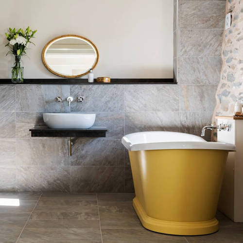 Additional image for Painted Acrylic Boat Bath 1580mm (White & Citron).