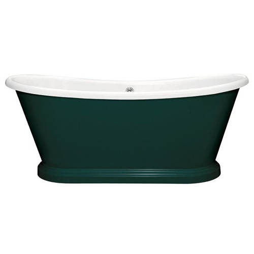 Additional image for Painted Acrylic Boat Bath 1580mm (White & Mid Azure Green).