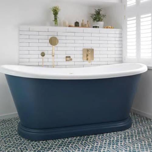 Additional image for Painted Acrylic Boat Bath 1700mm (White & Stiffkey Blue).