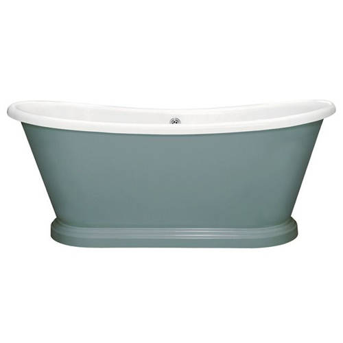 Additional image for Painted Acrylic Boat Bath 1700mm (White & Oval Room Blue).
