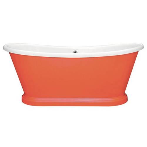 Additional image for Painted Acrylic Boat Bath 1800mm (White & Orange Aurora).