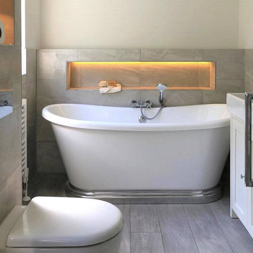 Additional image for Acrylic Boat Bath With Aluminium Plinth 1700mm (Gloss White).