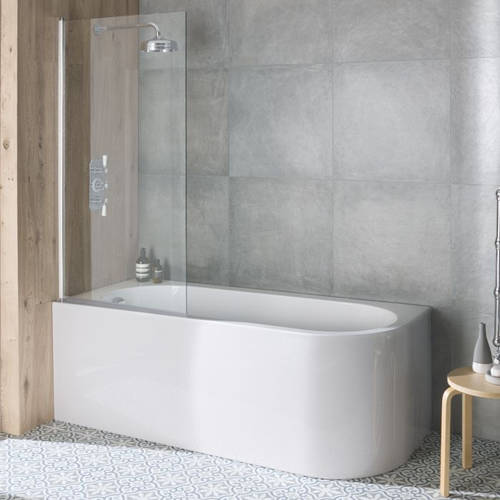 Additional image for Hinged Bath Screen With Towel Rail 790x1435mm.