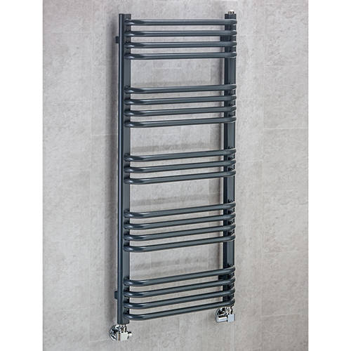 Additional image for Heated Towel Rail & Wall Brackets 1100x600 (Anthracite Grey).