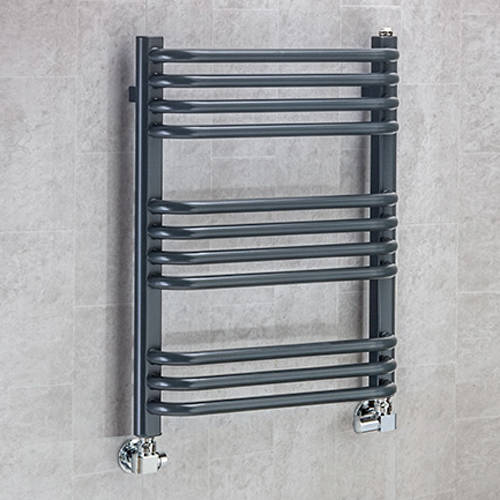 Additional image for Heated Towel Rail & Wall Brackets 620x500 (Anthracite Grey).