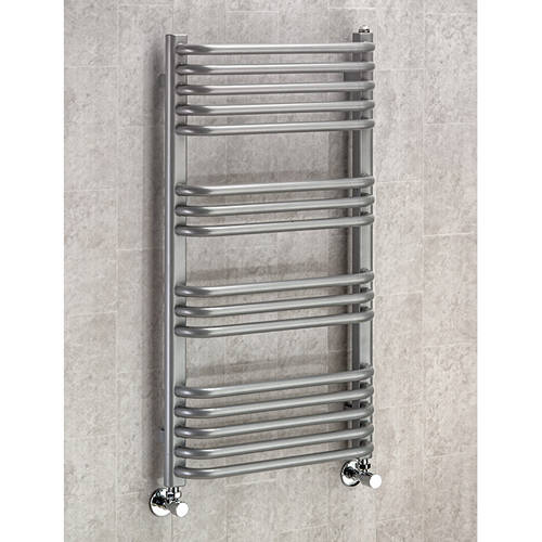 Additional image for Heated Towel Rail & Wall Brackets 900x600 (Grey Aluminium).