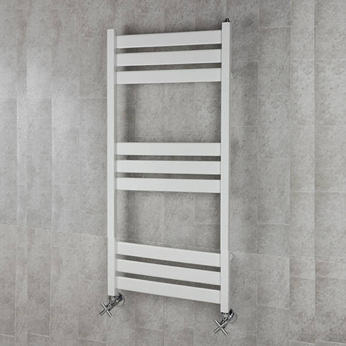 Additional image for Heated Towel Rail & Wall Brackets 1080x500 (White).
