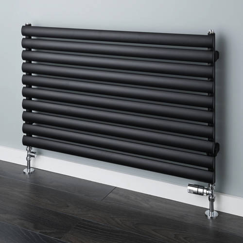 Additional image for Tallis Horizontal Radiator 420x1220mm (Jet Black, 1965 BTUs).