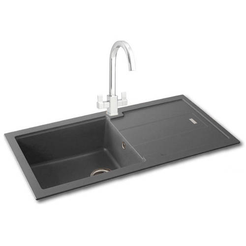 Additional image for Bali 105 Single Bowl Granite Sink 970x500mm (Graphite).