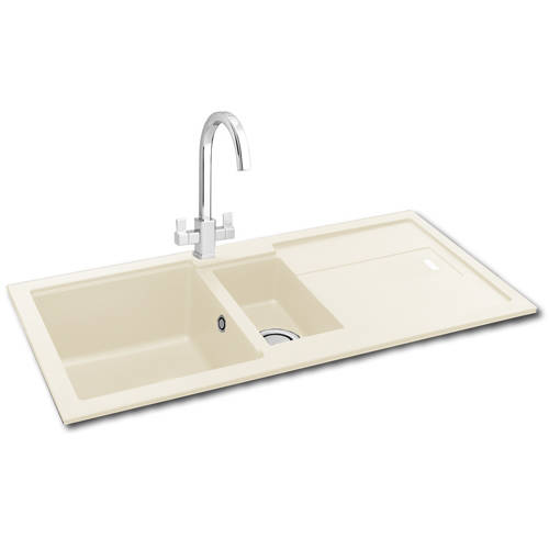 Additional image for Bali 150 Double Bowl Granite Sink 970x500mm (Champagne).