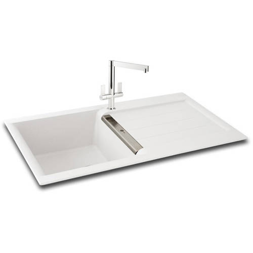 Additional image for Java 100 Single Bowl Granite Sink 1000x510mm (White).