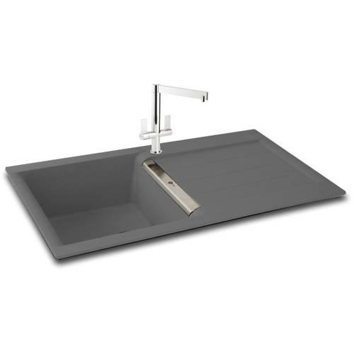 Additional image for Java 100 Single Bowl Granite Sink 1000x510mm (Graphite).
