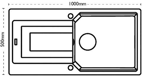 Additional image for Aruba Single Bowl Granite Sink 1000x500mm (Jet Black).
