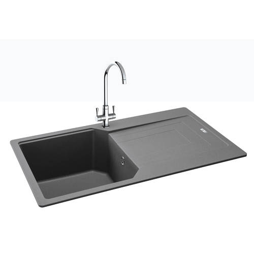 Additional image for Aruba Single Bowl Granite Sink 860x500mm (Stone Grey).