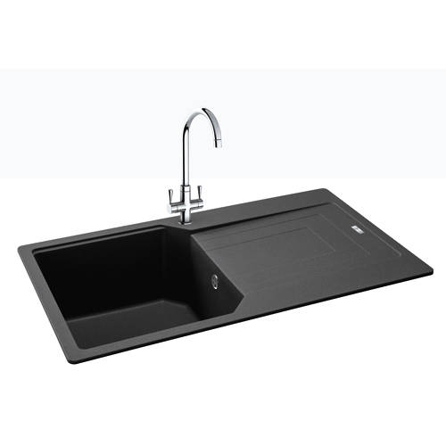 Additional image for Aruba Single Bowl Granite Sink 860x500mm (Graphite).
