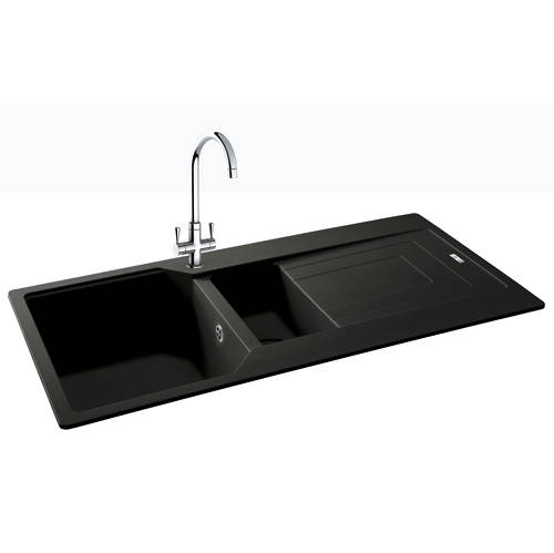 Additional image for Aruba Double Bowl Granite Sink 1000x500mm (Jet Black).
