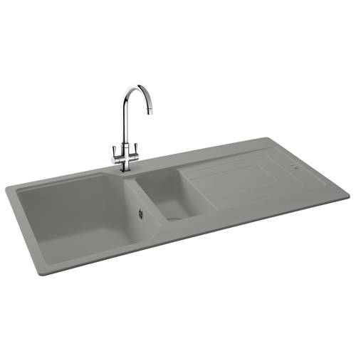 Additional image for Aruba Double Bowl Granite Sink 1000x500mm (Stone Grey).