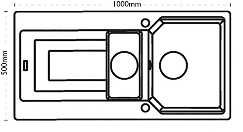 Additional image for Aruba Double Bowl Granite Sink 1000x500mm (Graphite).