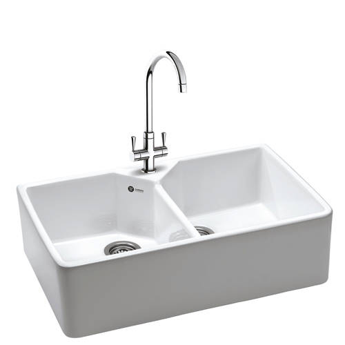 Additional image for Belfast Sink 800x490mm With Two Bowls (White Ceramic).