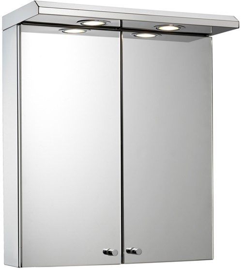 Additional image for Mirror Bathroom Cabinet, Lights & Shaver. 450x530x230mm.