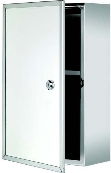 Additional image for Trent Lockable Mirror Medicine Cabinet. 250x400x130mm.