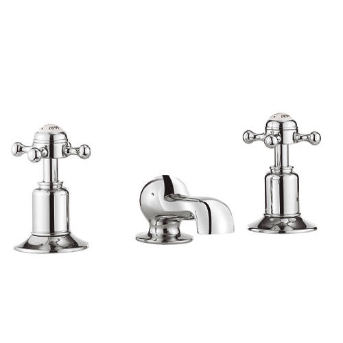 Additional image for 3 Hole Basin Tap (Crosshead, Chrome).