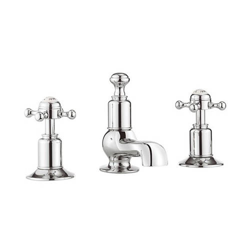Additional image for 3 Hole Basin Tap With Waste (Crosshead, Chrome).