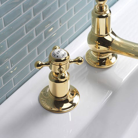 Additional image for 3 Hole Basin Tap With Waste (Crosshead, Unlac Brass).