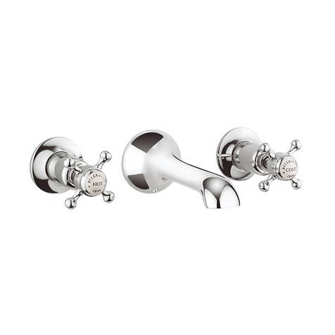 Additional image for 3 Hole Wall Mounted Basin Tap (Crosshead, Chrome).