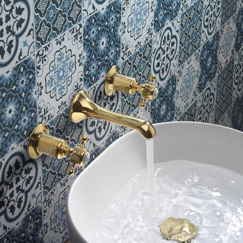 Additional image for 3 Hole Wall Mounted Basin Tap (Crosshead,  Un Brass).