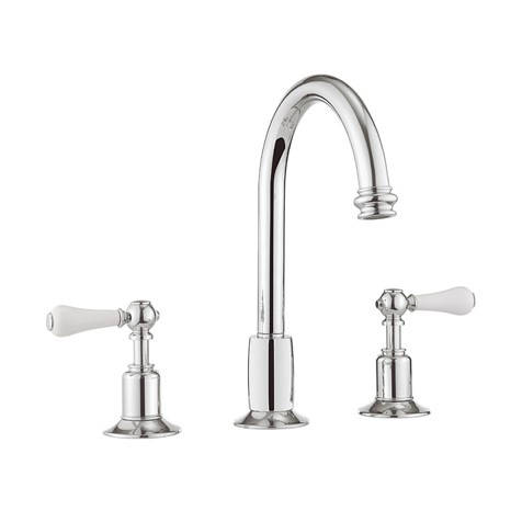 Additional image for 3 Hole Basin Mixer Tap With Waste (Lever, Chrome).