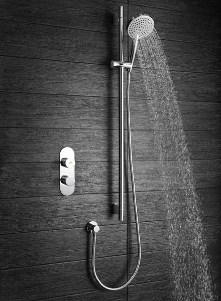 Additional image for Central Thermostatic Shower Valve & Slide Rail Kit (1 Outlet).