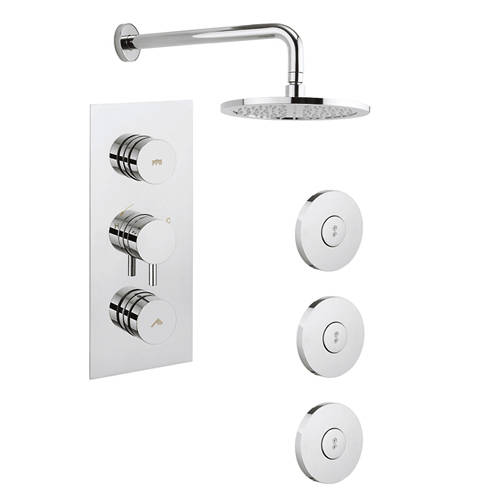 Additional image for Kai Thermostatic Shower Valve With Head & Jets (2 Outlets)