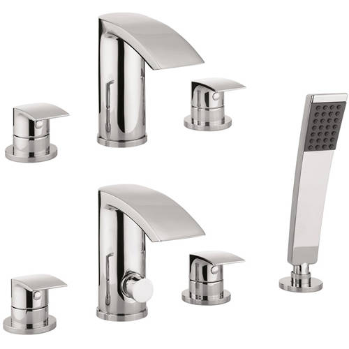 Additional image for 3 Hole Basin & 4 Hole Bath Shower Mixer Tap With Kit (Chrome).