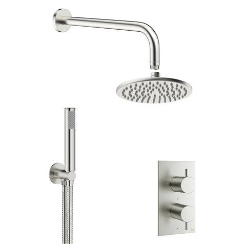 Additional image for 2 Outlet 2 Handle Shower Bundle (Brushed Steel).