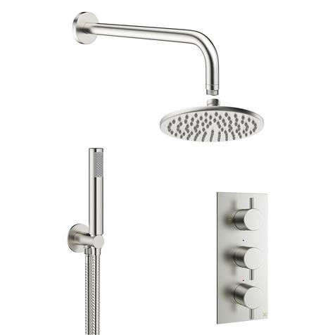 Additional image for 2 Outlet 3 Handle Shower Bundle (Brushed Steel).