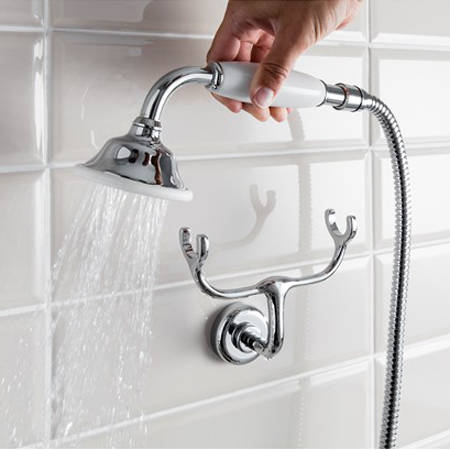 Additional image for Thermostatic 2 Outlet Cradle Shower Kit (Nickel).