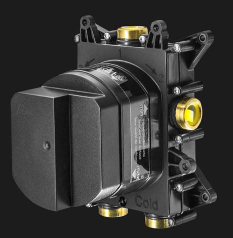 Additional image for Crossbox 3 Outlet Shower / Bath Valve (Matt Black).
