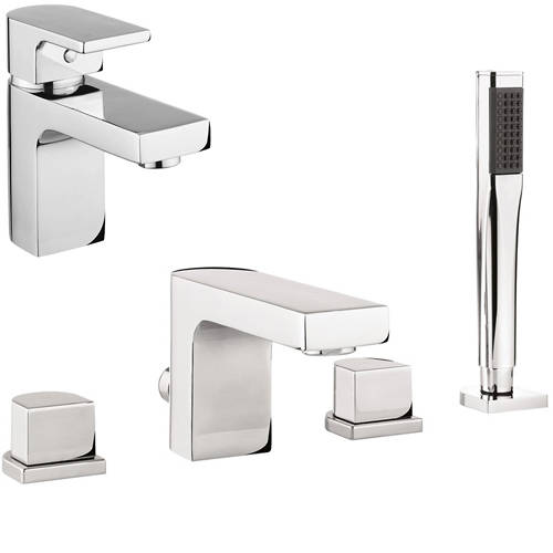 Additional image for Basin & 4 Hole Bath Shower Mixer Tap Pack With Kit (Chrome).