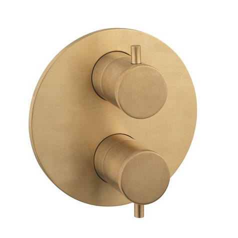 Additional image for Crossbox 2 Outlet Shower Valve (Un Brushed Brass).