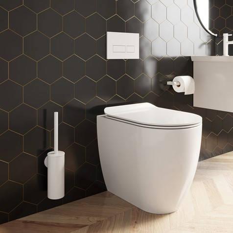Additional image for Wall Mounted Toilet Brush & Holder (Matt White).
