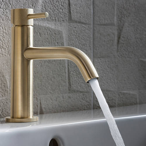 Additional image for Basin Mixer Tap With Knurled Handle (B Brass).